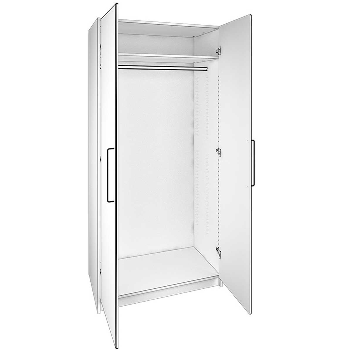Køb Kaagaard Garderobeskab 2 lÃ¥ger 2082 82x216x62 hvid